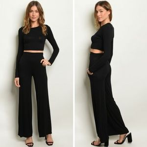 Cropped Top & High Waist Pants Set | Black